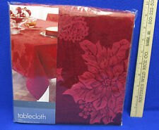 Embossed Poinsettia Christmas Luxe Target Tablecloth Red Flower Oblong 60 x 104