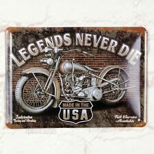 The Motorcycle Legend Never Die Poster Tin  Metal Signs Home Pub Bar Wall Decor