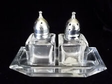 Vintage MOD Viking SALT & PEPPER SHAKER Set   Clear Cut Glass set w/ Tray labels
