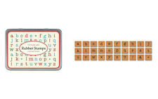 Cavallini MINI LOWERCASE AMERICAN ALPHABET Assorted Wooden Rubber Stamps in Tin