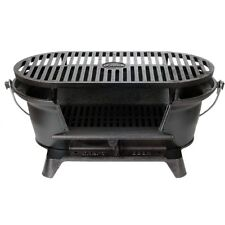 Lodge Logic Pre-Seasoned Sportsmans Charcoal Grill BBQ Outdoor Hibachi Cast Iron
