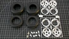 Revell 1/8th No Name (Goodyear) Tires, Mags w/ Caps and Spinners + valve stems