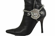 Women Boot Bracelet Silver Metal Chain Anklet Shoe Charm Live To Ride Bike Skull