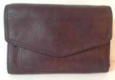 Fossil Brown Genuine Leather ID Card Slats Change Coin Wallet
