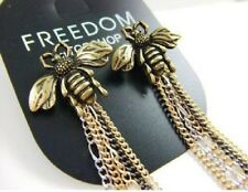 E64 Freedom by Topshop Honey Bumble Bee Queen Bronze Tassels Earrings US