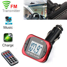 MP3 Player Wireless FM Transmitter Modulator Car Kit USB SD MMC LCD Remote Red