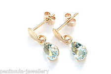 9ct Gold Blue Topaz Teardrop earrings Made in UK Gift Boxed