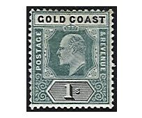 GOLD COAST stamps 1902  EDWARD VII 1 Shilling green/black  SG.44 mint MH (F115)