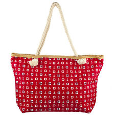 Lux Accessories Lux Accessories Womens Zip Up Beach Bag Red Anchor