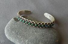 Old Vintage Fred Harvey Era Maisels Silver Green Row Turquoise Cuff Bracelet