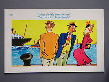 R&L Postcard: Brook Publishing, Cruise Ship Stern, Lady in Stockings