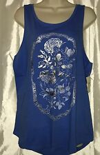 NWT Women LUCKY BRAND Rosewater Frame Graphic Sleeveless Scoop Neck Tank Top Med