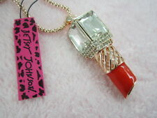 Betsey Johnson crystal ruby red lipstick pendant necklace # B241A