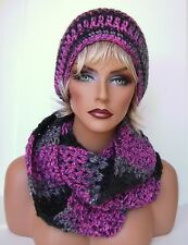 HOT PINK BLACK GRAY MULTI HAND CROCHET HAT AND INFINITY SCARF SET BEANIE BERET