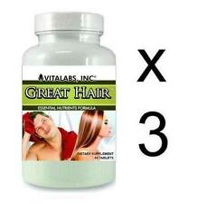 3x Great Hair Loss Tablets Thinning Growth Pills Prevents Stop Splits Baldness