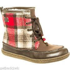 NEW* ROXY Canoe BOOTS SHOE Lace Up 8.5 38.5 VEGAN Brown Red Plaid $74 Retail