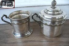 ancien ensemble passe thé ou café et porte tasse en métal argenté poinçons