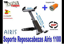 SOPORTE REPOSACABEZAS PARA  AIRIS One Pad 1100 10.1 + CARGADOR MECHERO USB