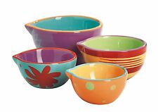 Anchor Hocking 4-Piece Ceramic Nesting Decorated Prep Bowl Set