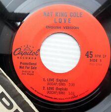 NAT KING COLE 4-song 45 ep LOVE INTERNATIONAL VERSION Capitol 1965 promo e8887