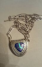 Vintage Zuni/Navajo Cast Sterling Lapis Opal Inlay Slide Pendant Removable Chain