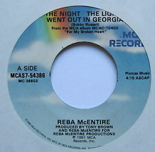 "REBA McENTIRE - The Night The Lights Went Out In Georgia - Ex Con 7"" Single MCA"