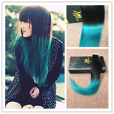 "14""  5pcs Ombre Black to Teal Brazilian PU Tape in Human Hair Extensions Silky"