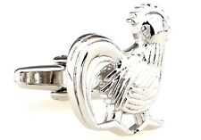 Rooster Cufflinks Silver Foghorn Chicken Wedding Fancy Gift Box Free Ship USA