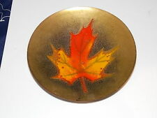 Beautiful Colorful Autumn Maple Leaf Enamel Brass Plate Pin Tray Soap Dish