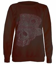 New Womens Skull Hat Sequin Studded Full Sleeve Sweatshirt Jumper Tops 8-14