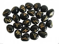 Black Onyx Rune Stones, pouch, divination, oracle, crystals