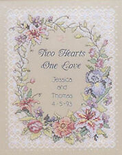 Cross Stitch Kit ~ Dimensions Two Hearts One Love Wedding Record #3122