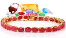 23.80 Carat Natural Ruby 14K Solid Yellow Gold Bracelet