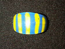 Blue and Yellow Striped Plastic Ring. Size S.  (J78)