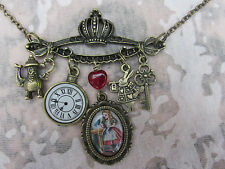 ALICE IN WONDERLAND ANTIQUE BRONZE-PLATED CHARMS NECKLACE