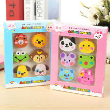1Box Cute Animal Picture Bendy Flexible Applicable Eraser For Kids Writing Gift