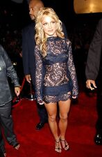 Britney Spears Forever 21 Sexy Black Nude Overlay Mock Neck Bodycon Lace Dress M