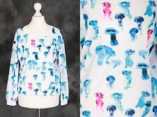 T-13 weiß Neon Qualle Jellyfish blue Sweatshirt Pullover Japan Harajuku Trend