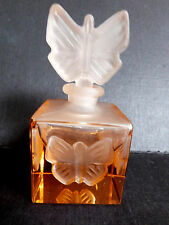 VTG Schmid cube Pink Frosted Cameo Glass Butterfly stopper Perfume Scent Bottle