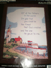 Rare 1992 Of All The Fathers Poem Cross Stitch Kit Nautical Lighthouse Boat Dad