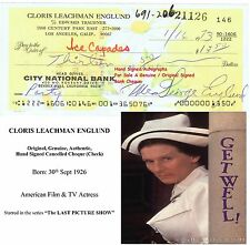 CLORIS LEACHMAN     FILM STAR ACTRESS  HAND SIGNED BANK CHEQUE - 1973  RARE ITEM