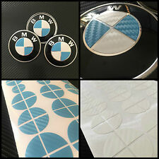 White & Sky Blue CARBON Overlay Decal BMW BADGE ROUNDEL EMBLEMS Rims Hood Trunk