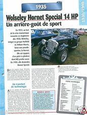 Wolseley Hornet Special 14 HP 6 Cyl. 1935 UK England Car Auto Retro FICHE FRANCE