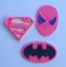 12 edible SUPER HERO GIRL PINK cake topper CUPCAKE DECORATIONS batgirl supergirl