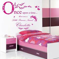 Once Upon a Time Princess Wall Sticker personalizzata nome Ragazze Vinile Preventivo