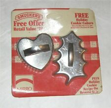 Mirro Holiday Cookie Cutters Christmas Heart Holly Smucker's Giveaway 1960's