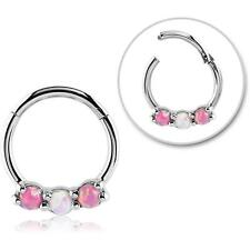 "Hinged Septum Clicker Hoop Nose Ring Ear Cartilage Pink Opal 3/8"" 16G"
