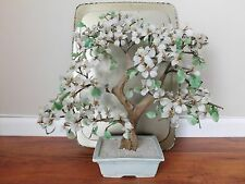 "Vtge 20""x20"" Chinese Glass jade Rose Agate quartz blossom Bonsai Tree celadon"