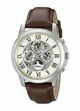 Fossil Original ME3027 Men's Grant Automatic Brown Leather Watch 44mm