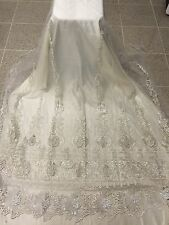 "OFF WHITE MESH W/ BORDER EMBROIDERY BRIDAL LACE FABRIC 50"" WIDE 1 YARD"